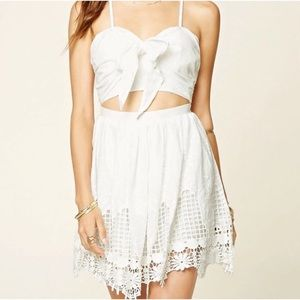 SELFIE LESLIE White Cut Out Embroidered Mini Dress